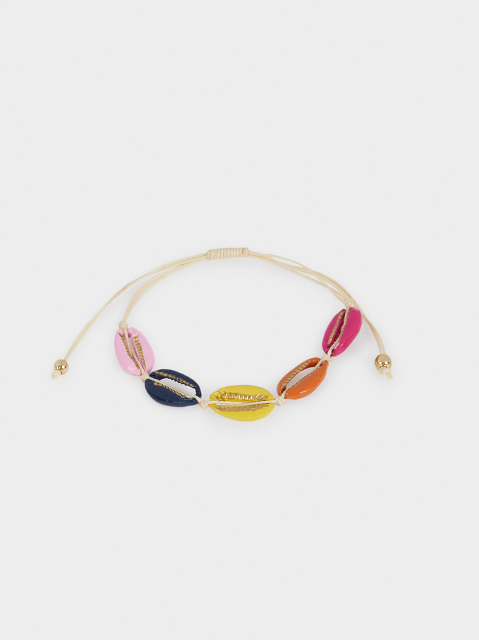 Pulsera Ajustable Conchas, Multicor, hi-res