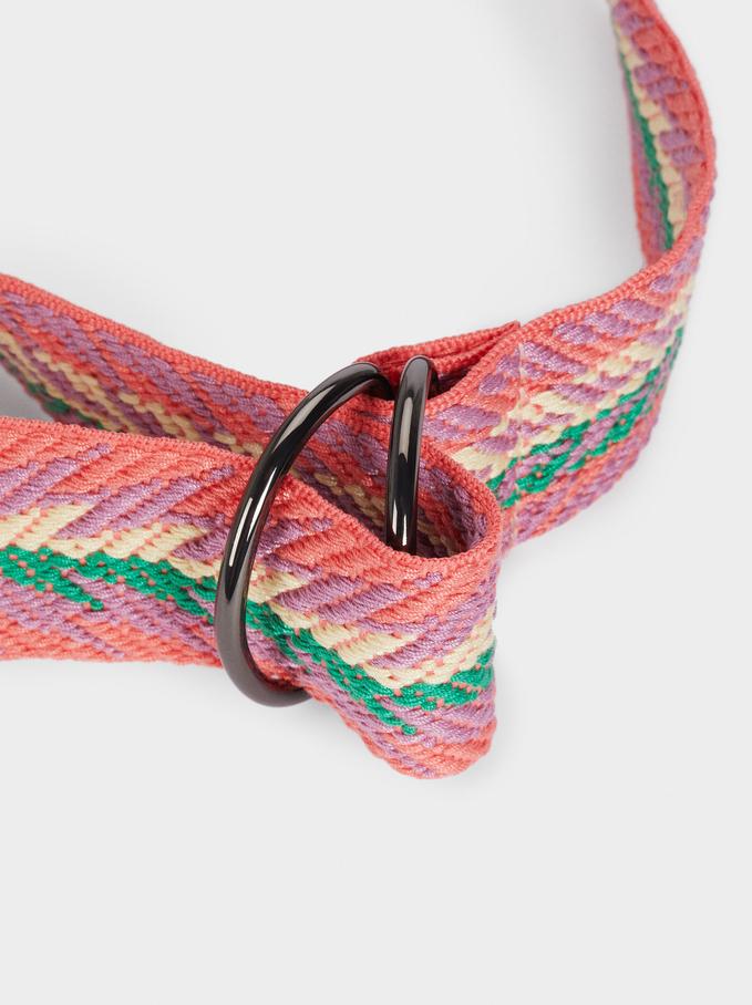 Printed Belt, Pink, hi-res