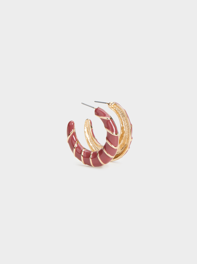 Land Medium Hoop Earrings, Camel, hi-res