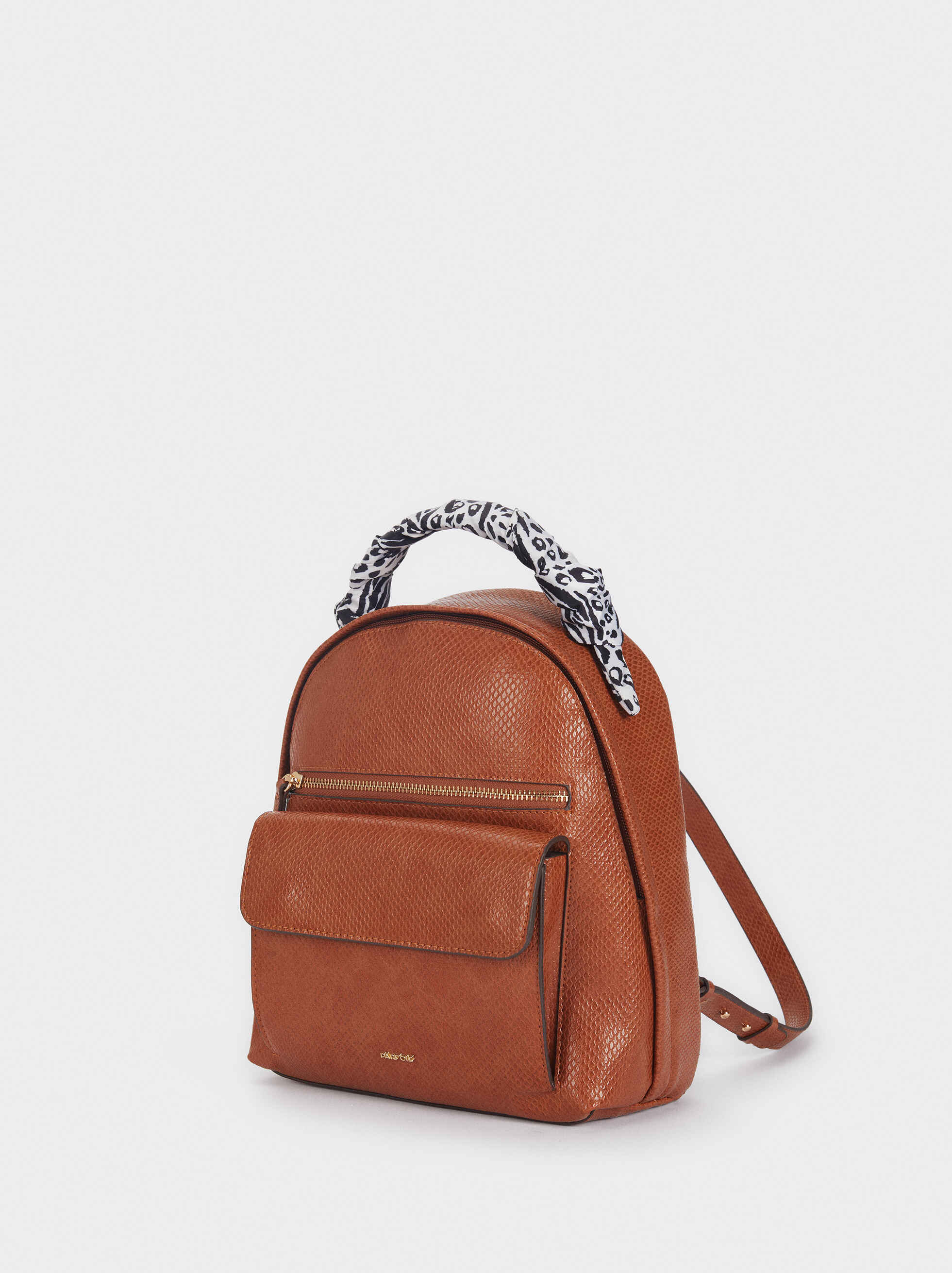 Backpack With Contrasting Printed Handle, Camel, hi-res