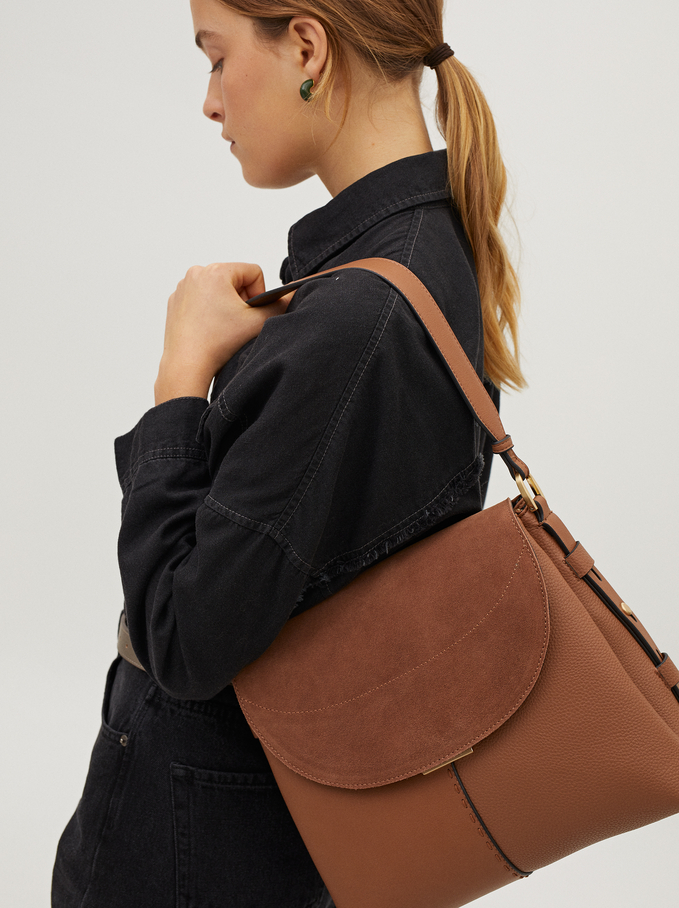 Suede Shoulder Bag With Flap Closure, Camel, hi-res
