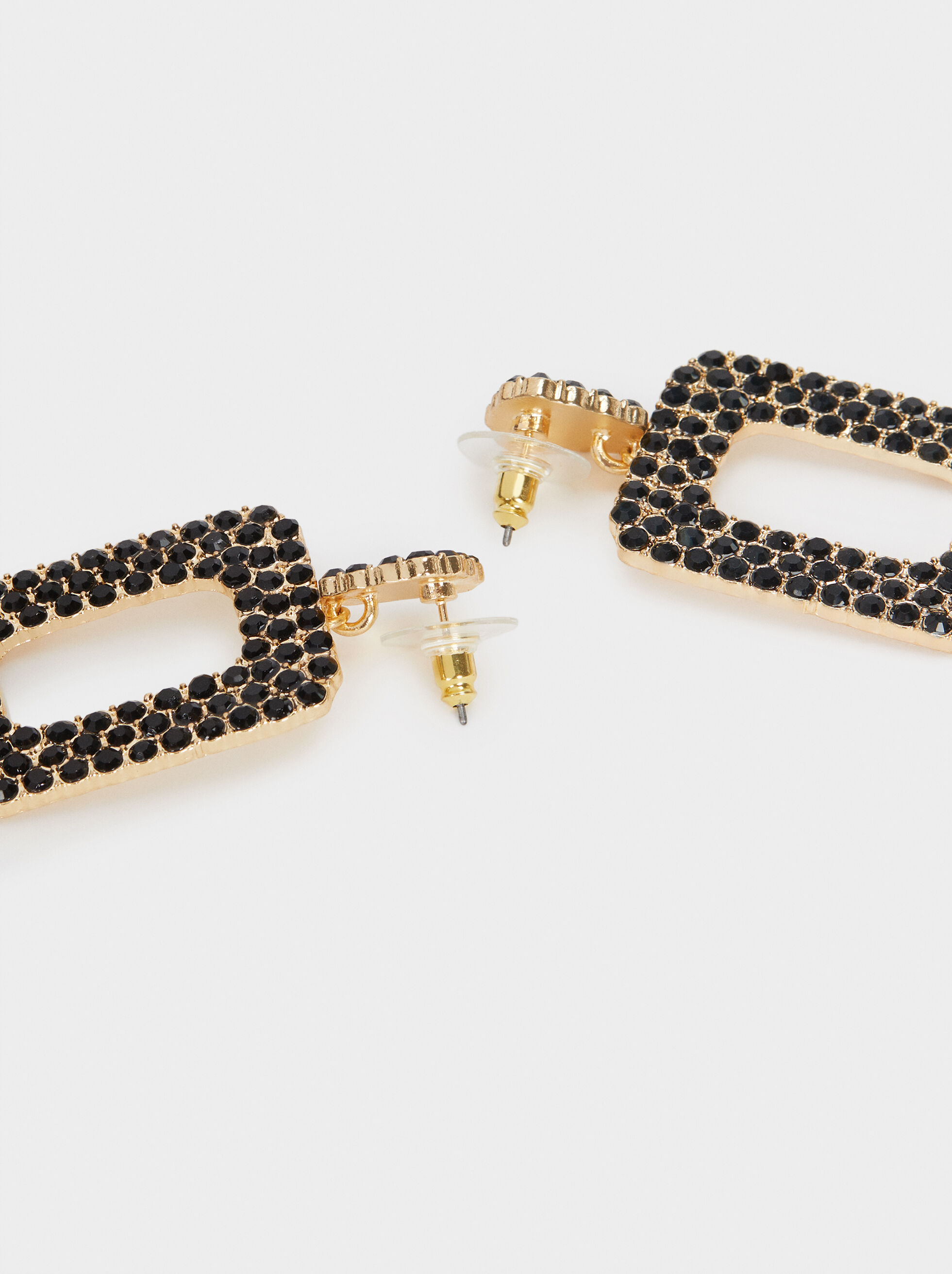 Large Gold Metal Earrings, Golden, hi-res