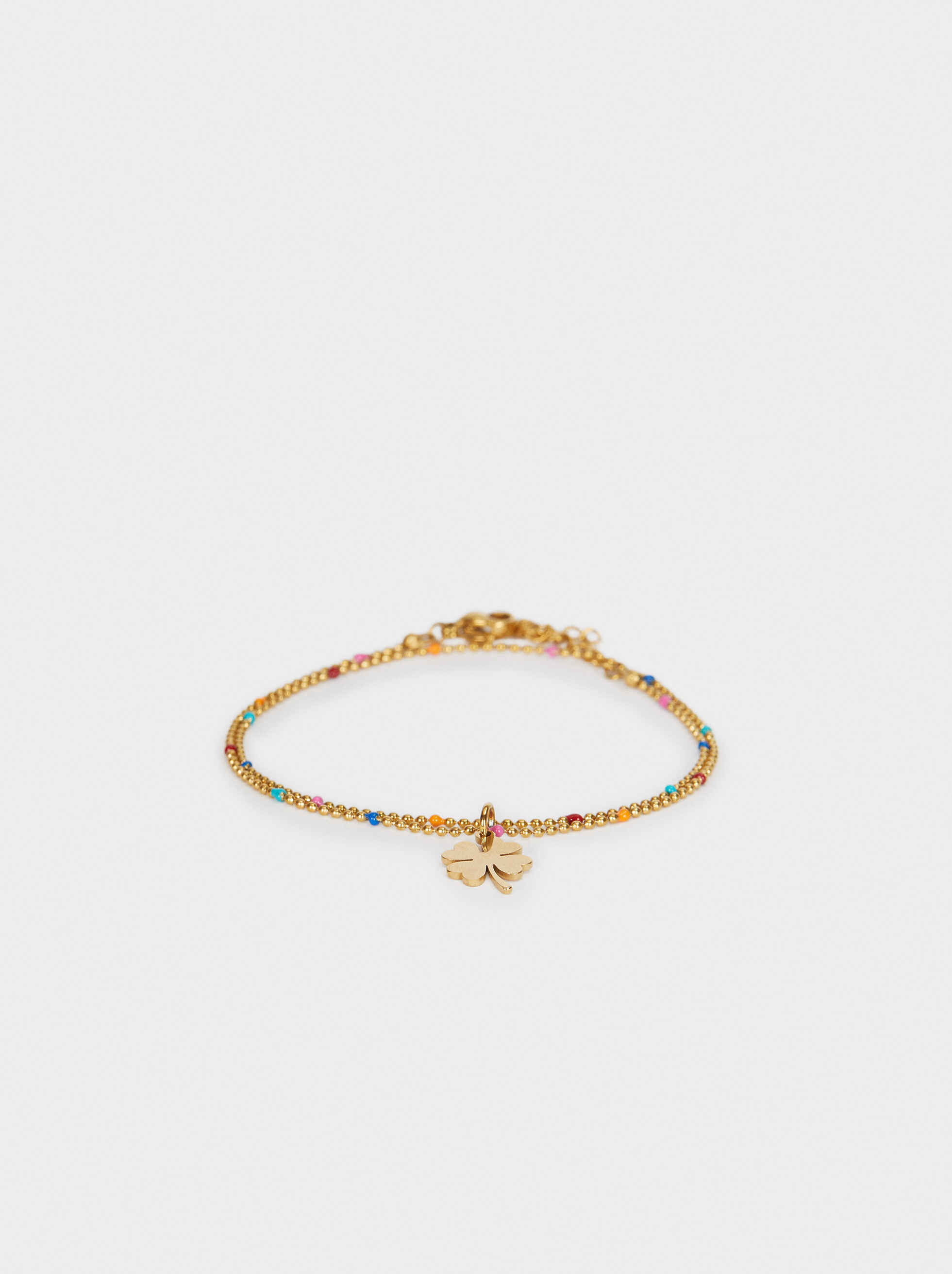 Stainless Steel Bracelet With Multi-Coloured Clover Leaves, , hi-res