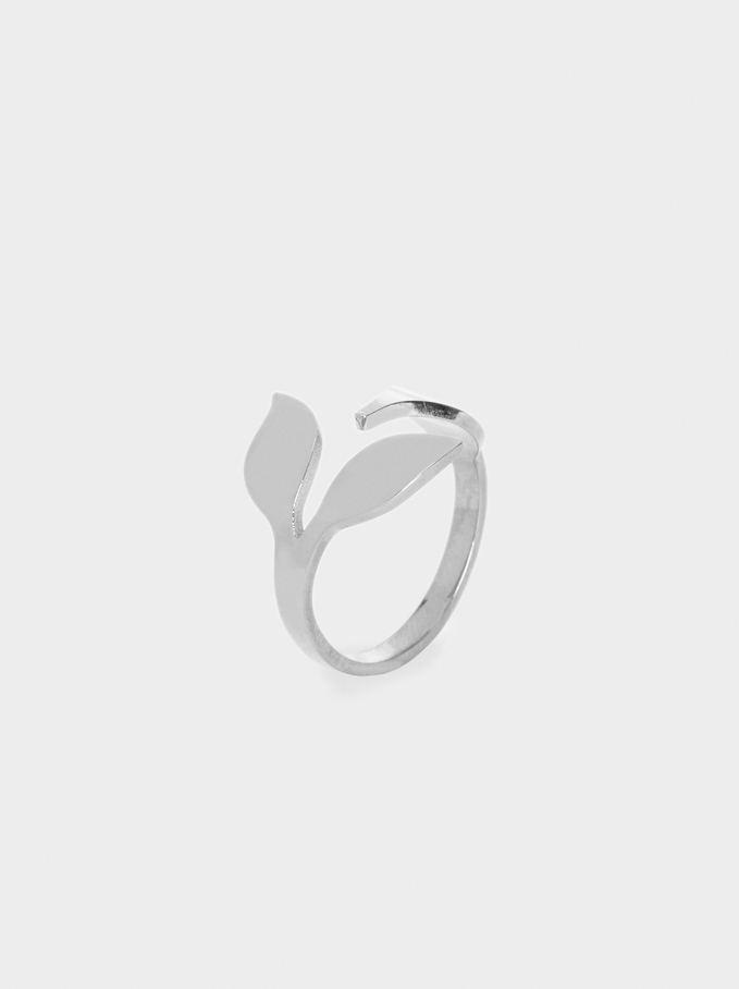 Leaf Steel Ring, Silver, hi-res