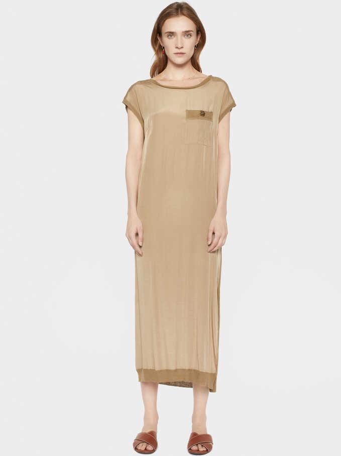 Satin Dress, Camel, hi-res