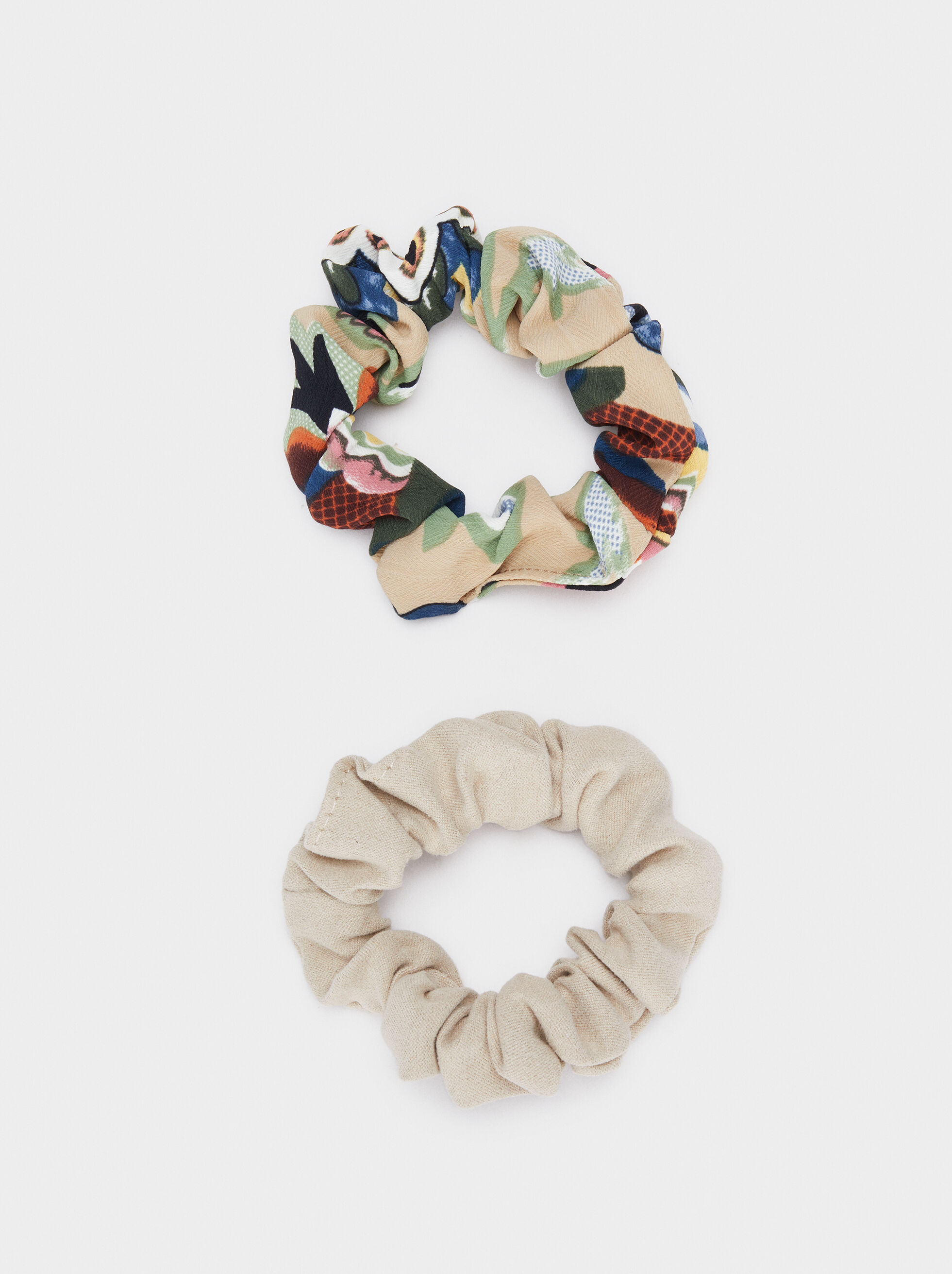 Multicoloured Printed Scrunchie, Multicolor, hi-res