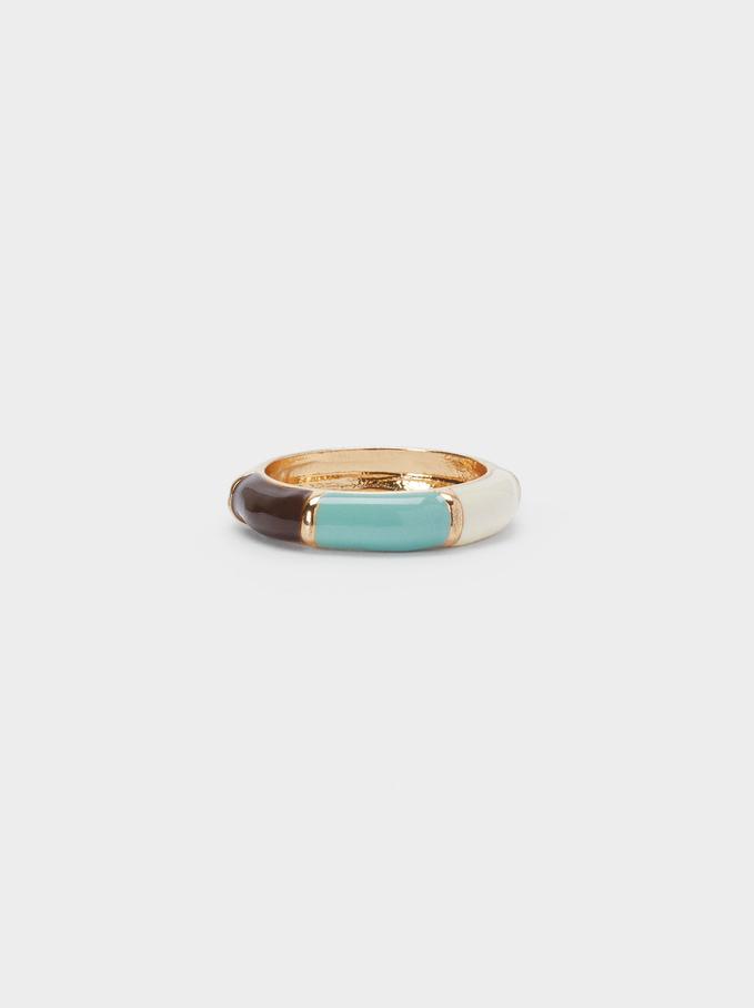 Multicoloured Enamel Ring, Multicolor, hi-res