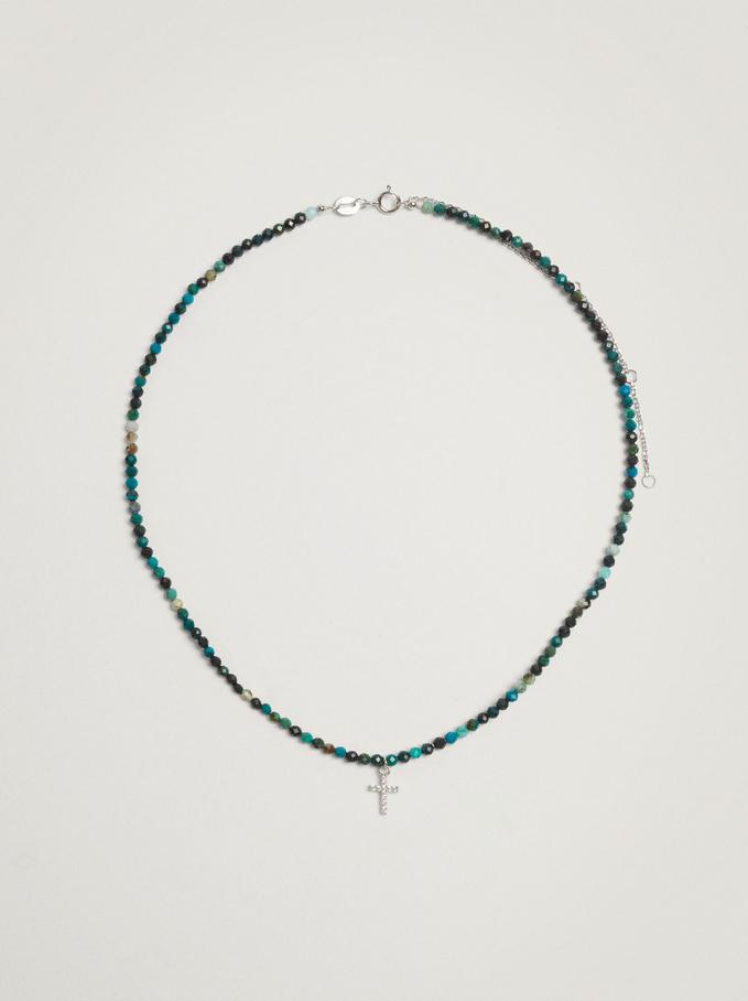 Short 925 Silver Cross Necklace, Green, hi-res