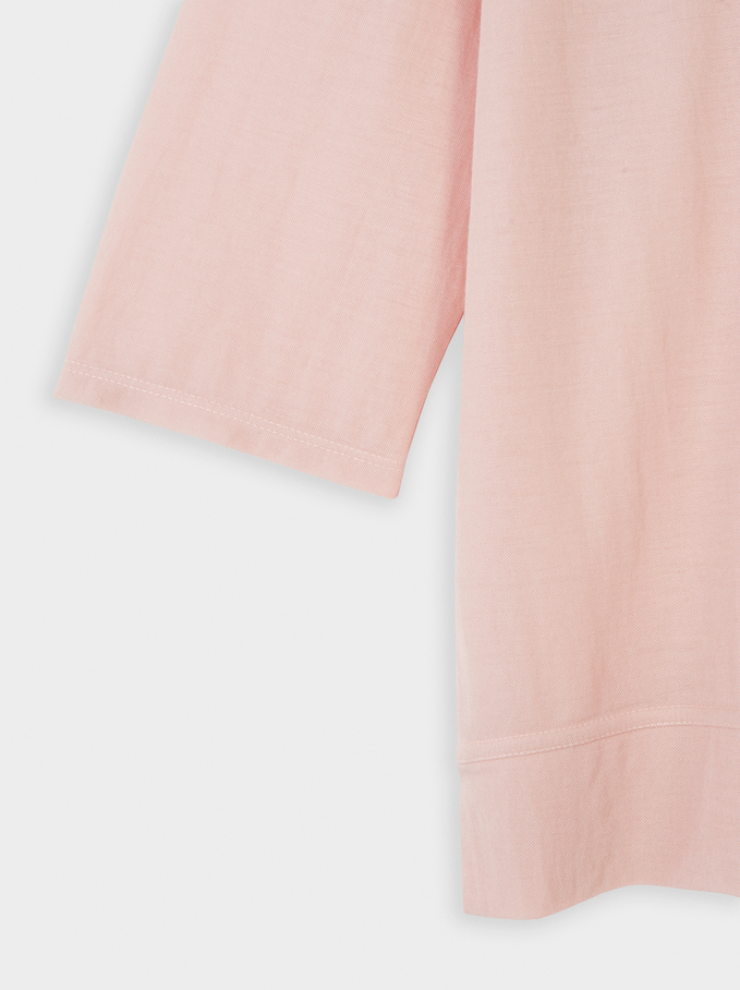 Plain Round Neck T-Shirt, Pink, hi-res