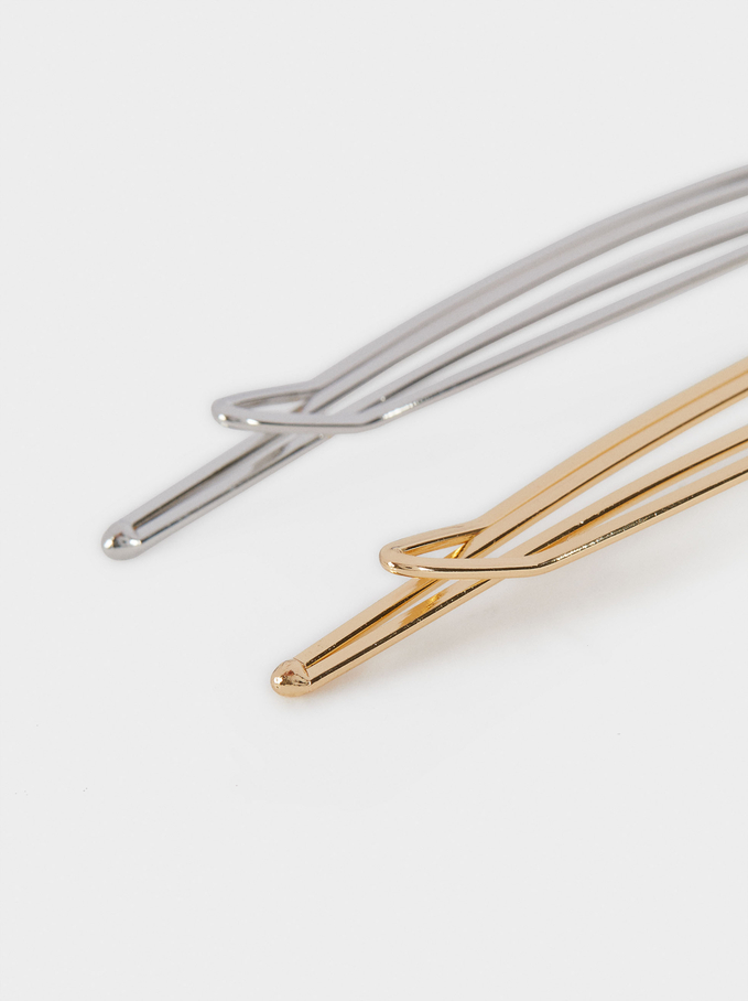 Metal Hairpin Set, Multicolor, hi-res