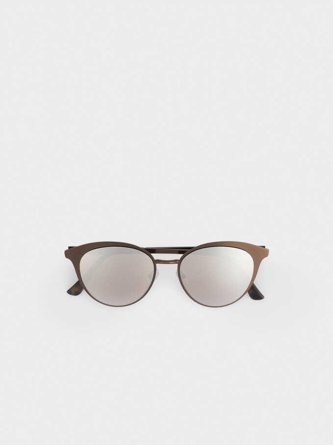 Round Metallic Sunglasses , Brown, hi-res