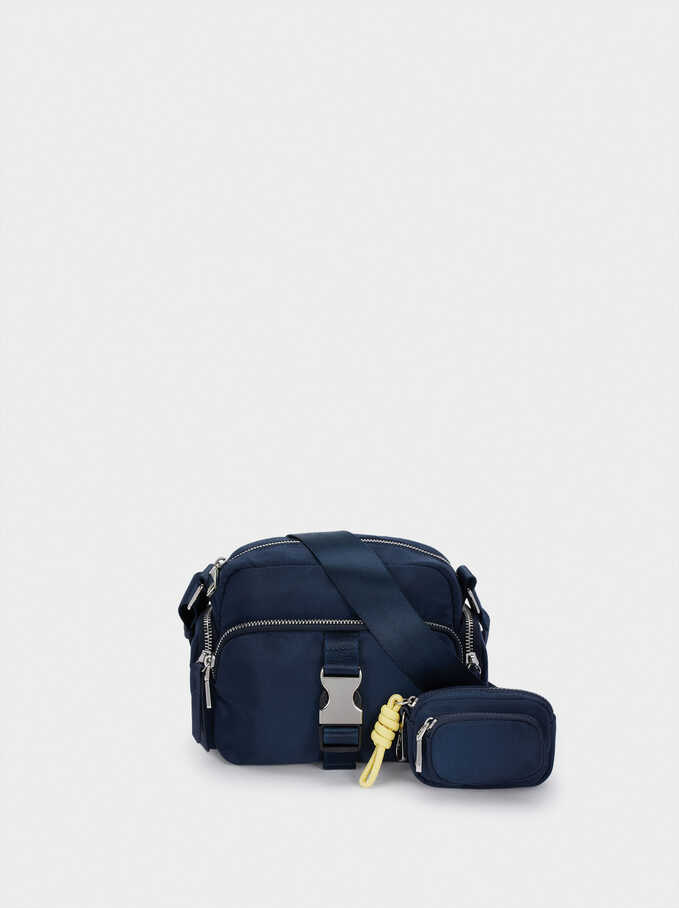 Nylon Crossbody Bag With Outer Pockets, Navy, hi-res