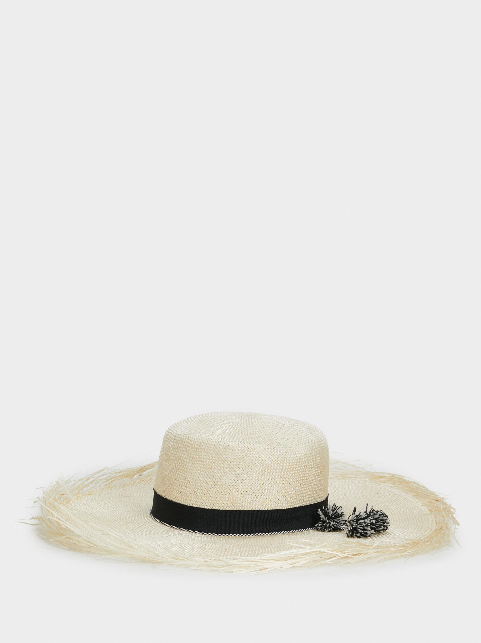 Frayed Raffia Hat, Ecru, hi-res