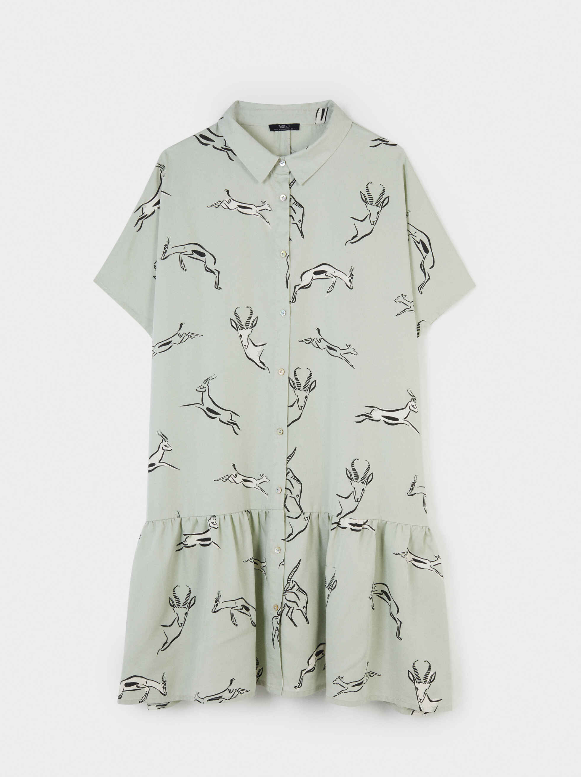 Animal Print Shirt Dress, Grey, hi-res