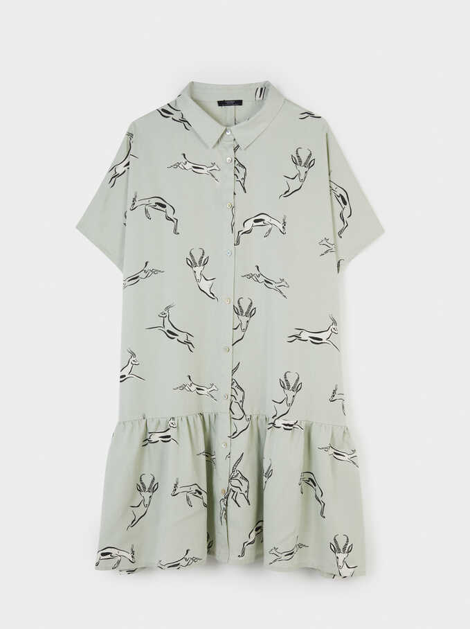 Animal Print Shirt Dress, Green, hi-res