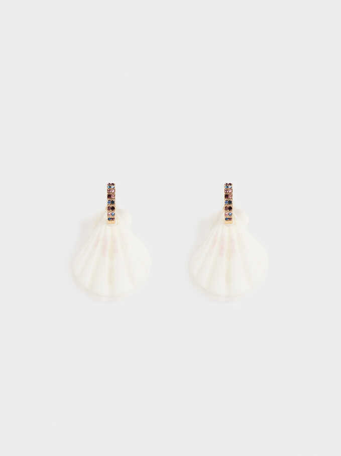 Sea Breeze Medium Earrings With Seashells, Multicolor, hi-res