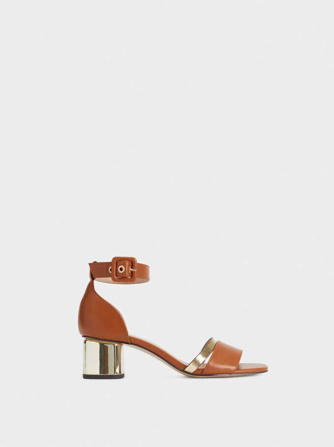Sandalias Con Tacón Metalizado, Camel, hi-res