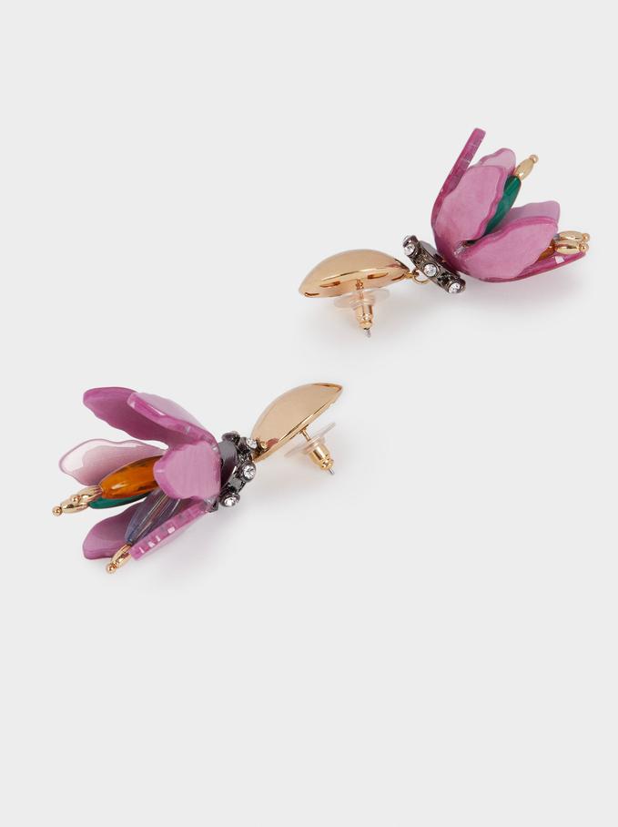 Boucles D'Oreilles Longues Avec Pendentif Fleur, Multicolore, hi-res