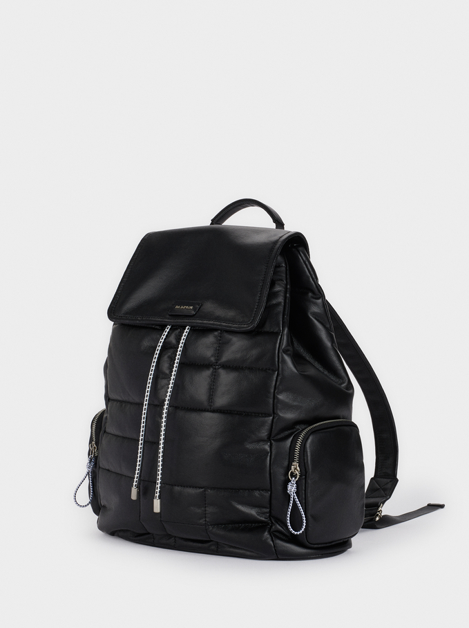 Quilted Backpack With Pockets, Black, hi-res