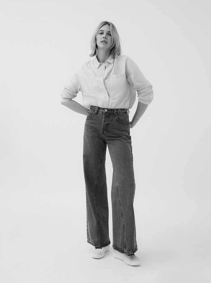 Pantalon En Jean Large, Bleu, hi-res