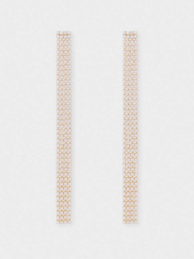 Long Dangle Earrings, Golden, hi-res
