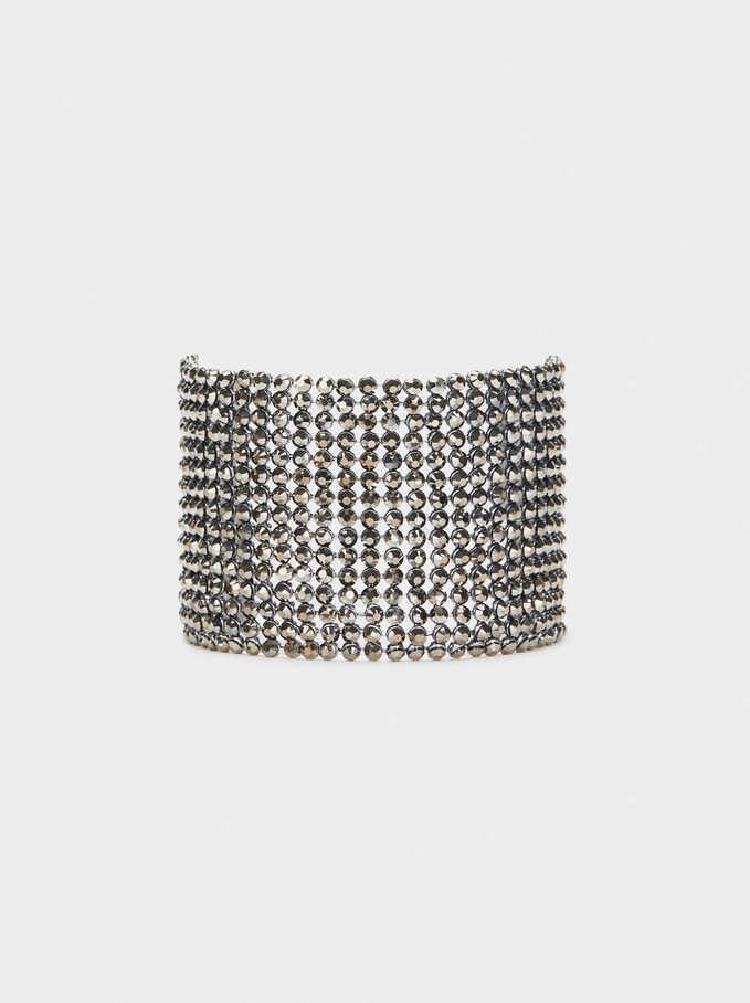 Wide Bracelet With Rhinestones, Grey, hi-res