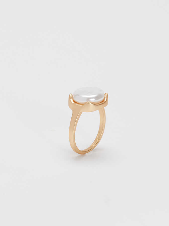 Gold-Toned Ring With Pearl, Golden, hi-res