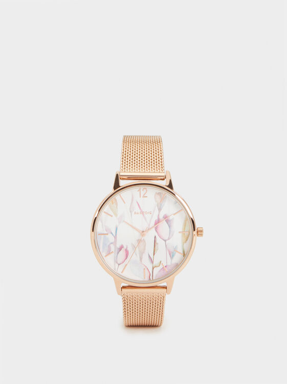 Watch With Floral Dial Illustration, Orange, hi-res