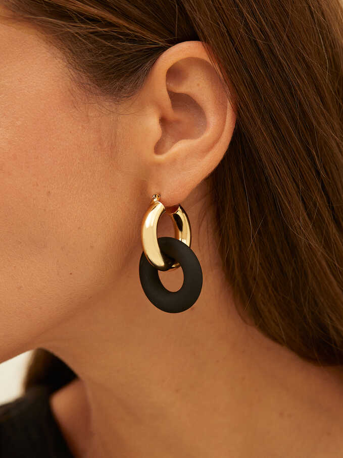Hoop Earrings With Pendants, Black, hi-res