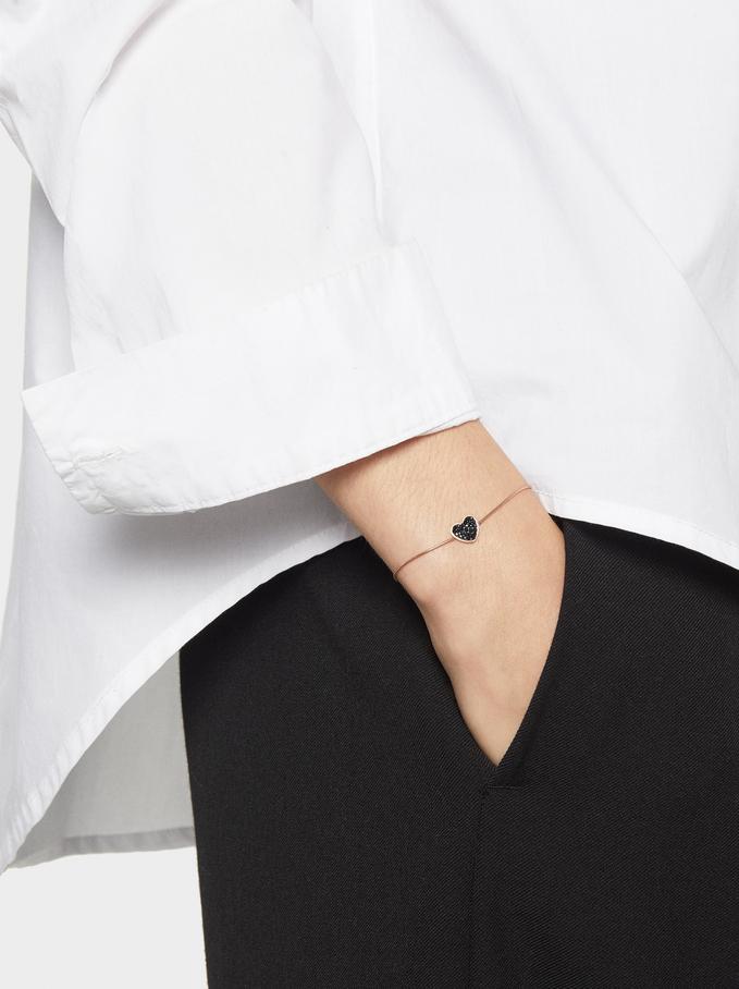 Adjustable Steel Bracelet With Heart, Orange, hi-res