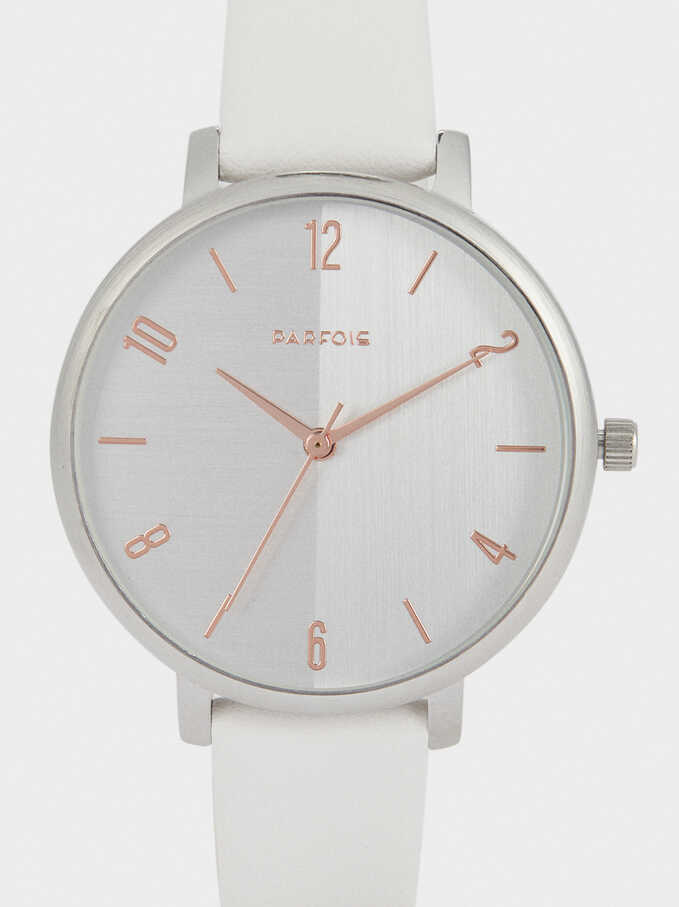 Watch With Leather-Feel Strap And Silver-Plated Face, White, hi-res