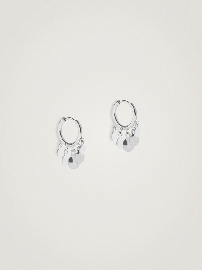 Short Stainless Steel Hoops With Pendants, Silver, hi-res