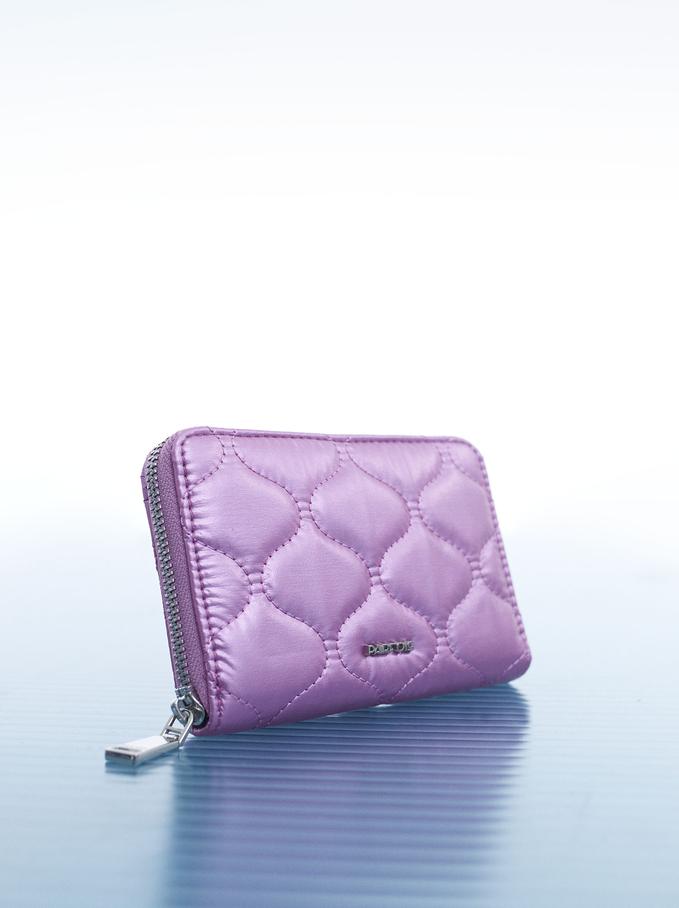 Portefeuille Compact En Nylon Rembourré, Rose, hi-res