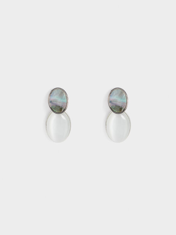 Medium Stone Earrings, Silver, hi-res