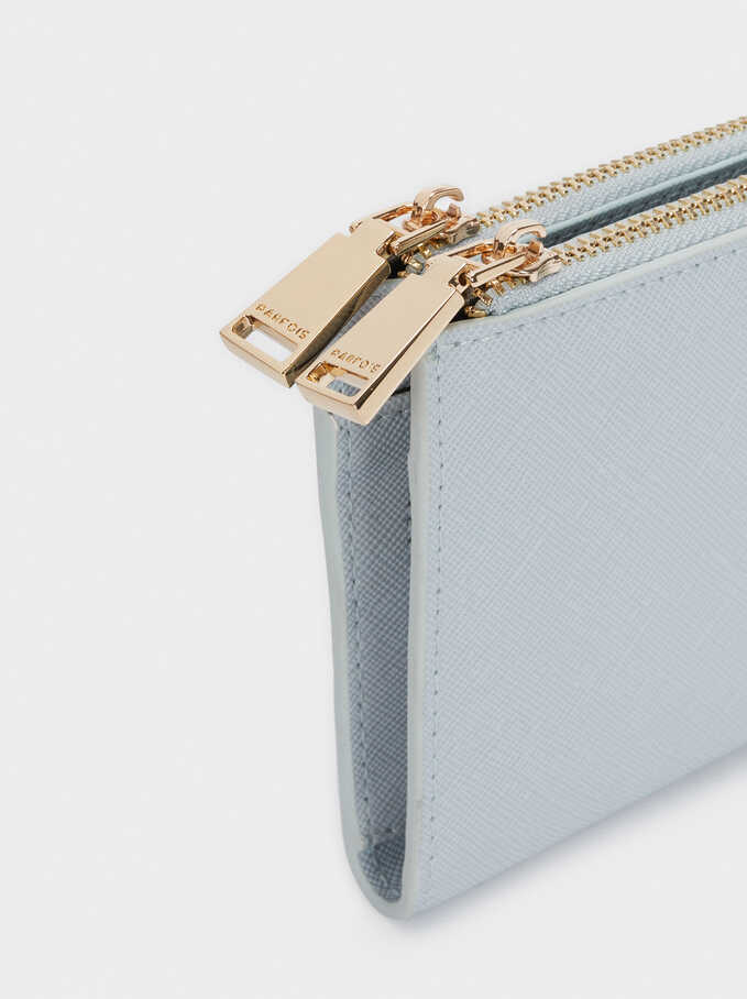 Plain Zipped Purse, Blue, hi-res