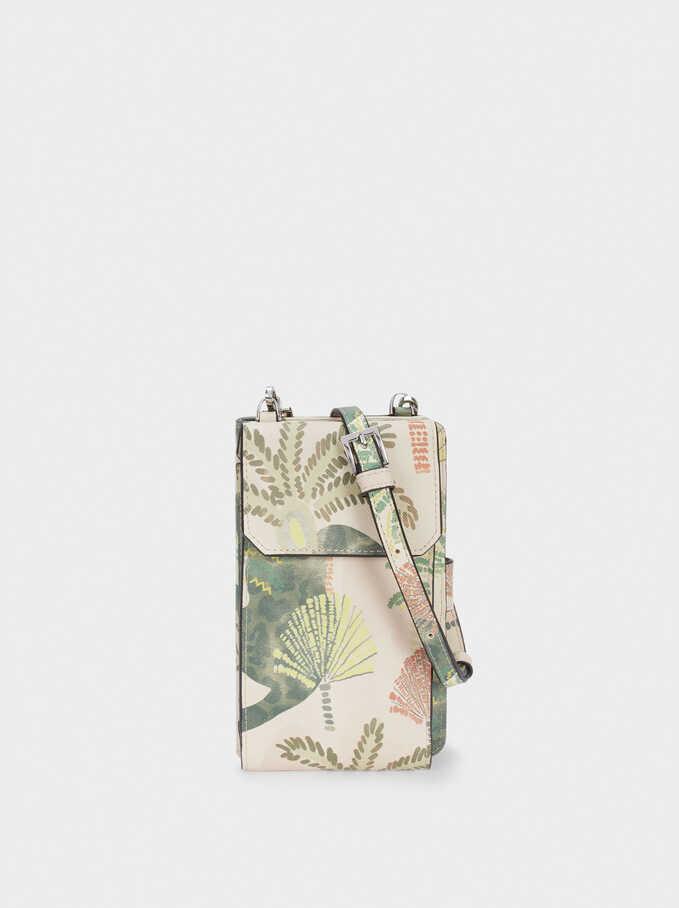 Palm Tree Print Mobile Phone Case, Beige, hi-res