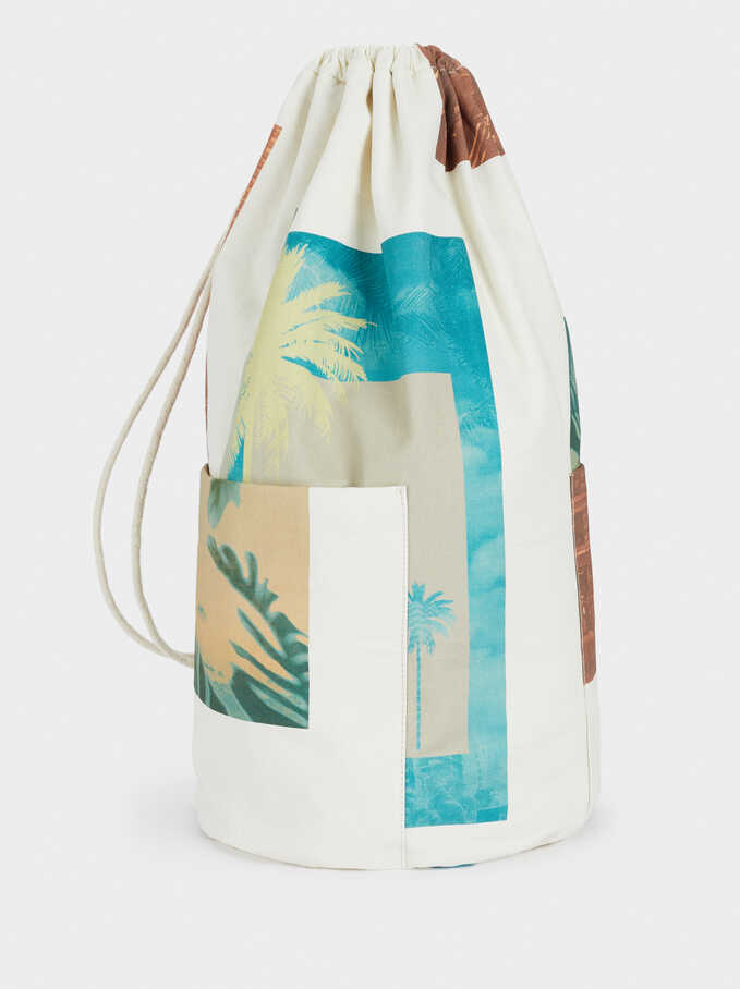 Palm Tree Print Maxi Bag, Ecru, hi-res