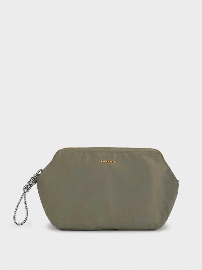 Large Nylon Toiletry Bag, Khaki, hi-res