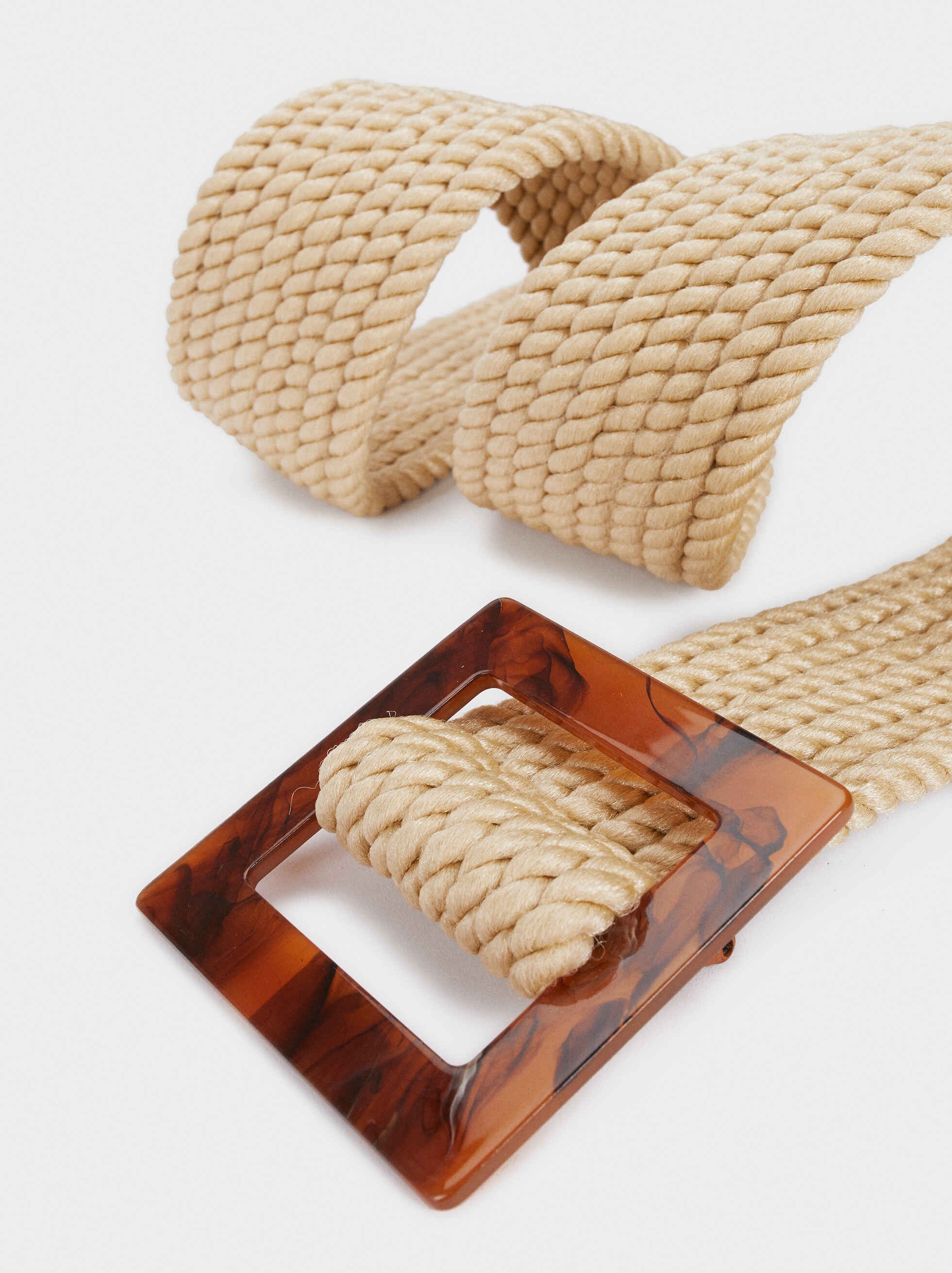 Raffia Belt With Tortoise-Shell Effect Buckle, Beige, hi-res