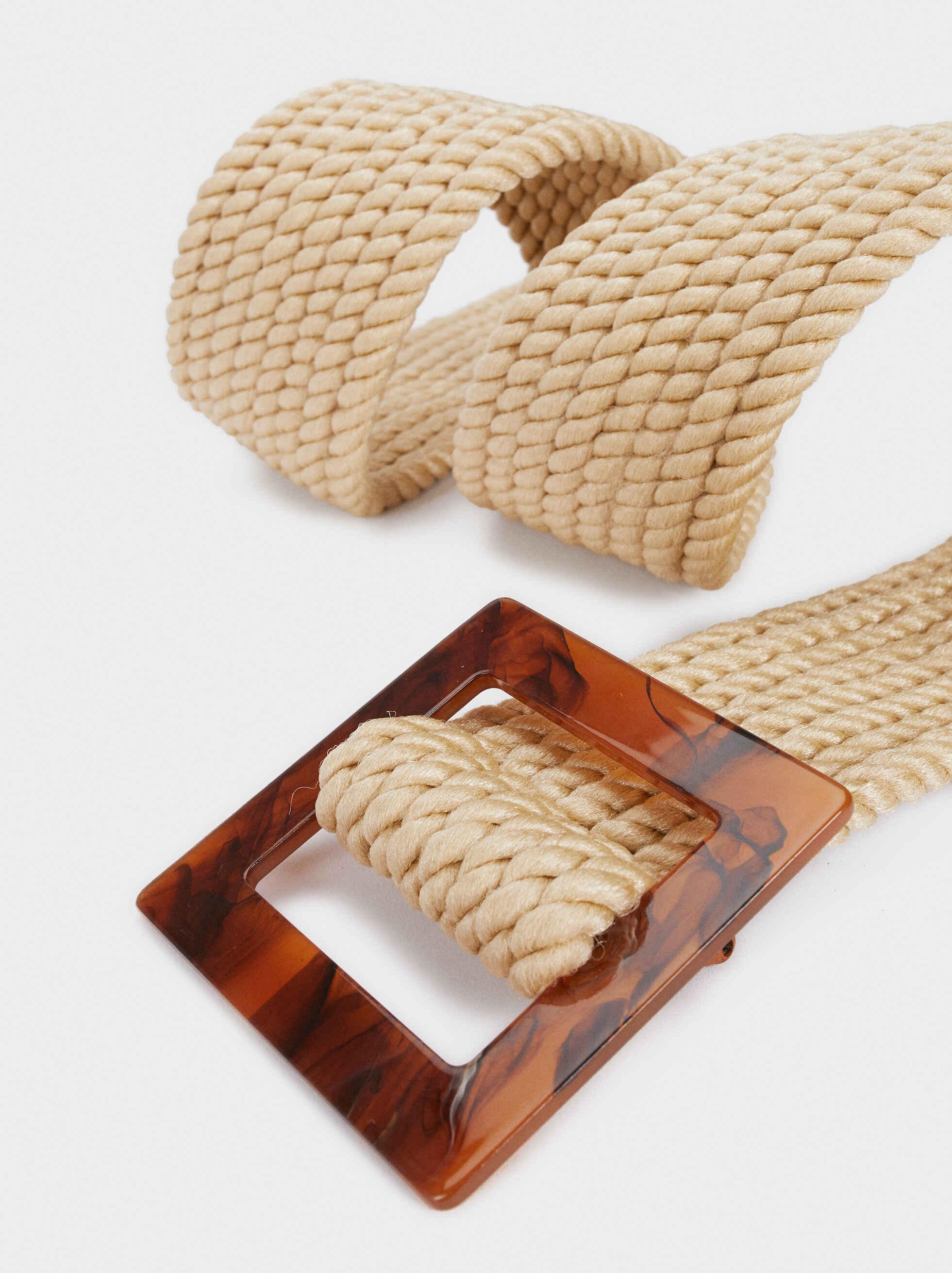 Cinturón Acabado Rafia Hebilla Tortoise, Beige, hi-res