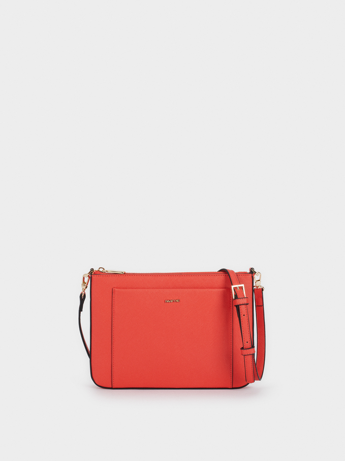 Crossbody Bag With Outer Pocket, Orange, hi-res