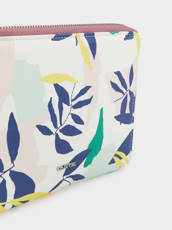 Floral Print Passport Cover, Green, hi-res