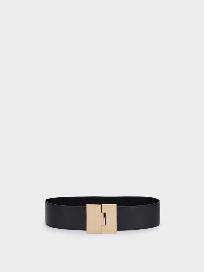 Stretch Belt With Golden Buckle, Black, hi-res