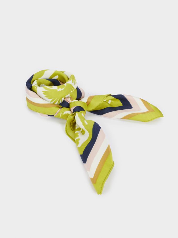Pañuelo Cuadrado Estampado Multicolor, Amarillo, hi-res