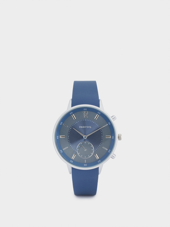 Watch With Silicone Strap And Round Face, Blue, hi-res