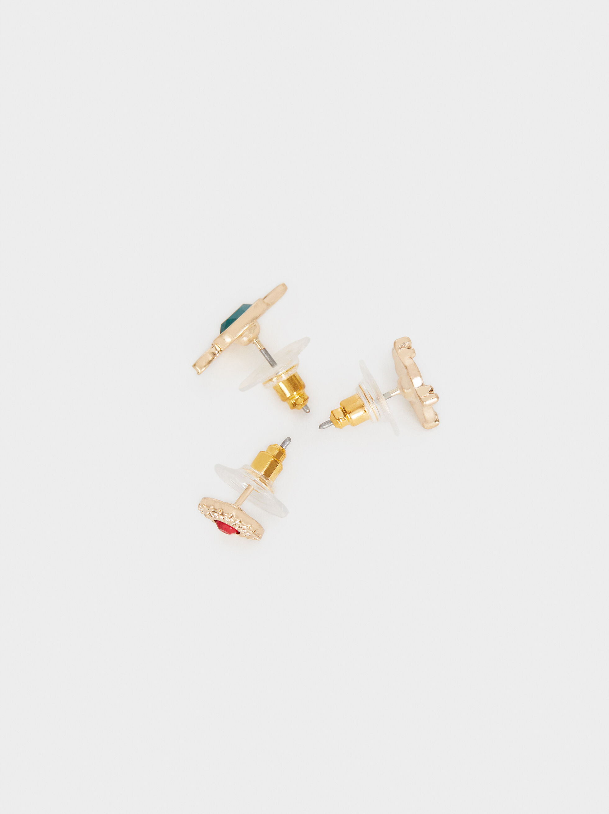 Set Of Gold Earrings With Stone Detail, Multicolor, hi-res