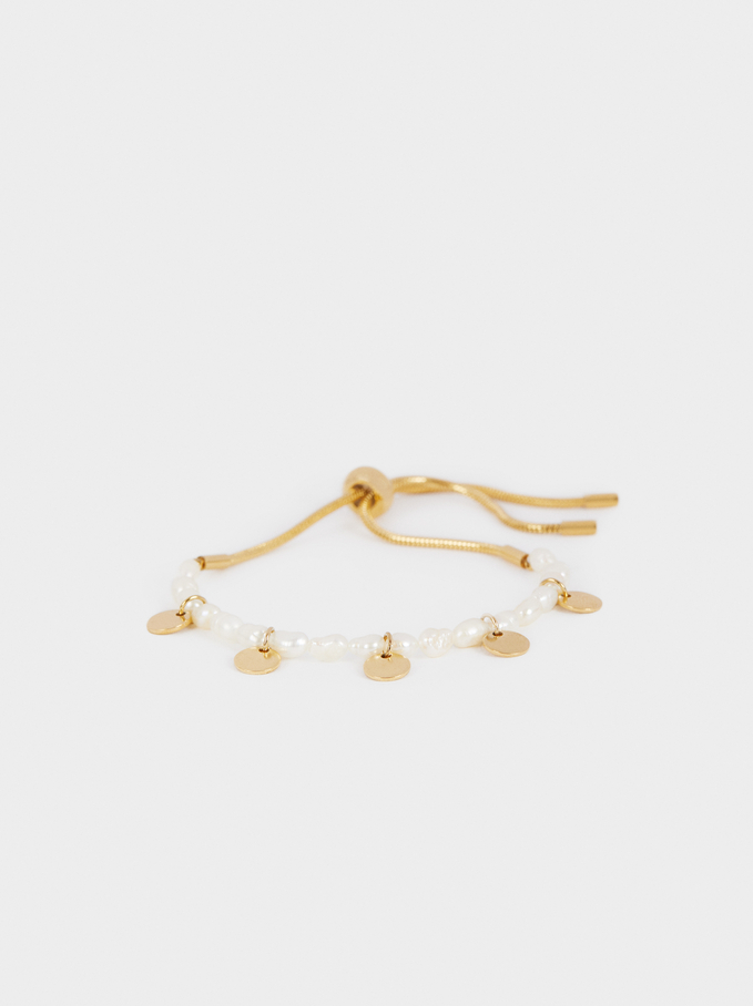 Adjustable Steel Bracelet With Pearls, White, hi-res