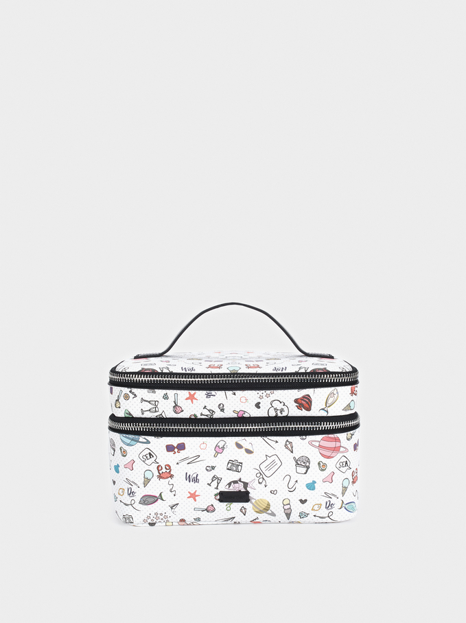 Multi-Purpose Bag With A Multi-Coloured Print, Black, hi-res