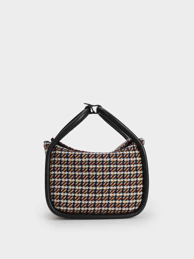 Checked Tweed Crossbody Bag, Red, hi-res