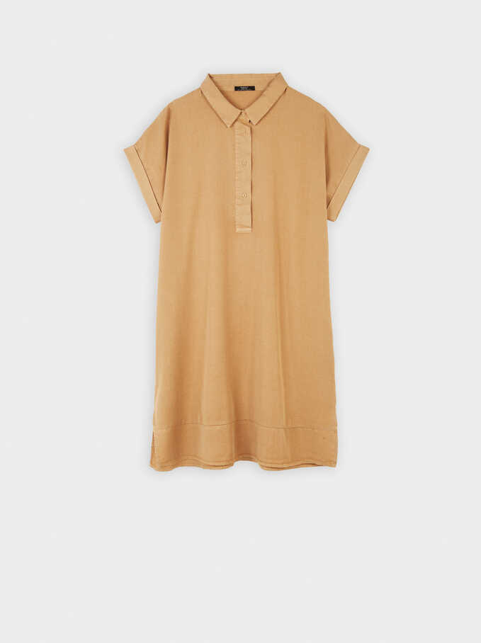 Oversized Loose-Fitting Dress, Beige, hi-res